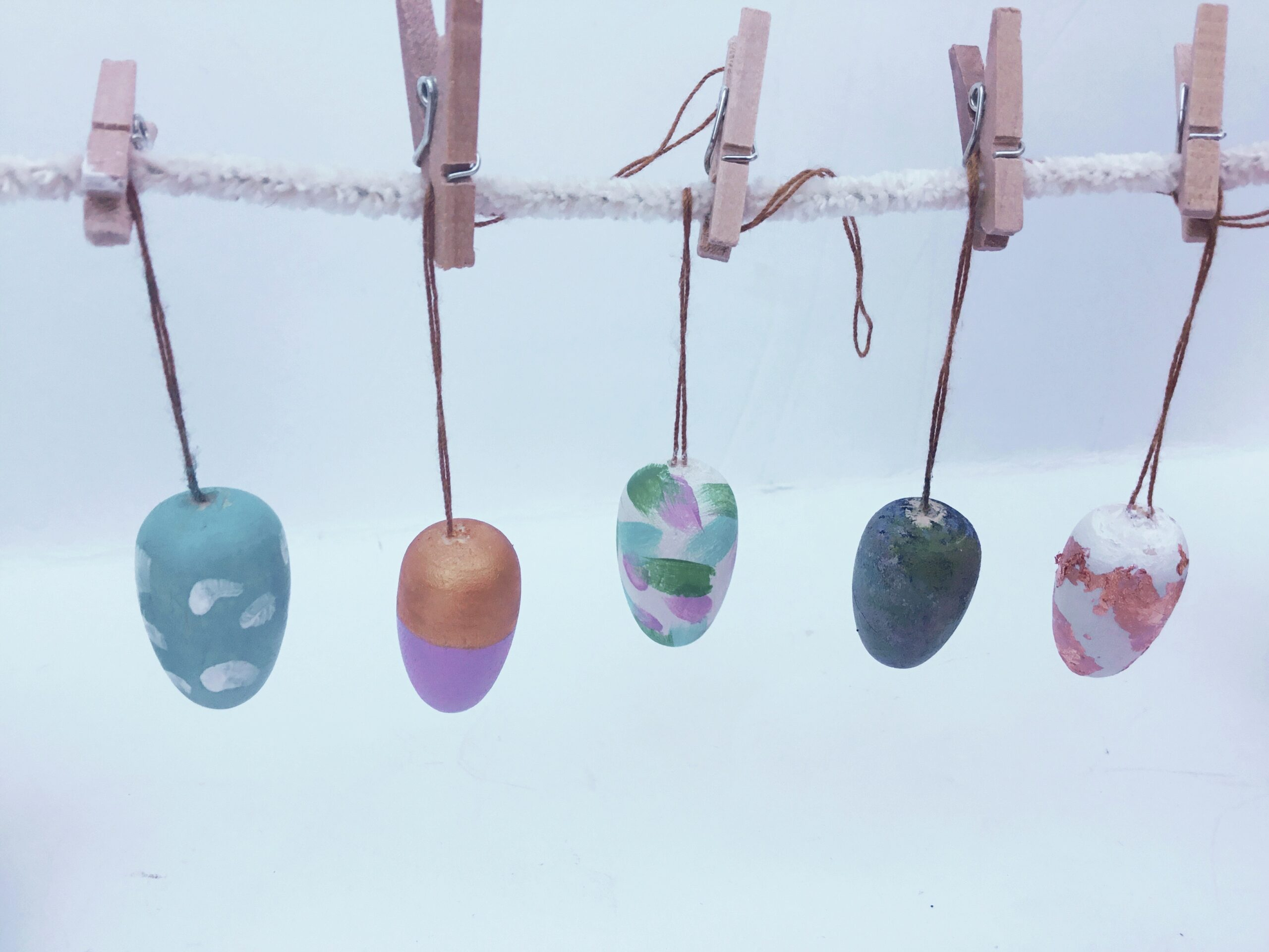 hanging eggs to dry